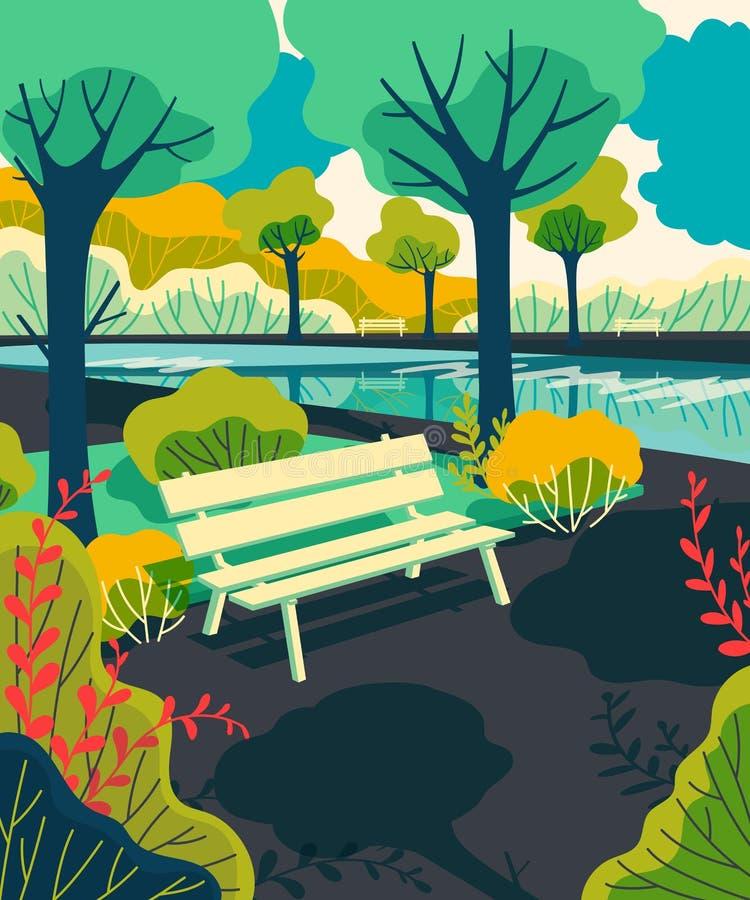 Staden parkerar bänken med sjön, träd, buskar Färgrik landskapbakgrund vektor illustrationer