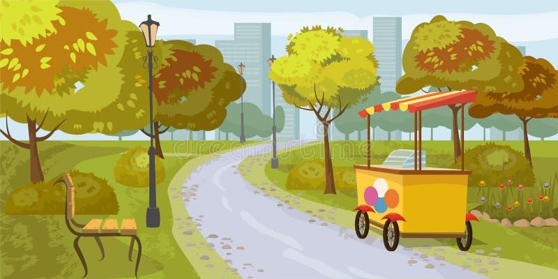 Staden parkerar, träd, banan som leder till staden, bänken, stall med glass, i bakgrundsstadshusen, vektorn, tecknad film vektor illustrationer