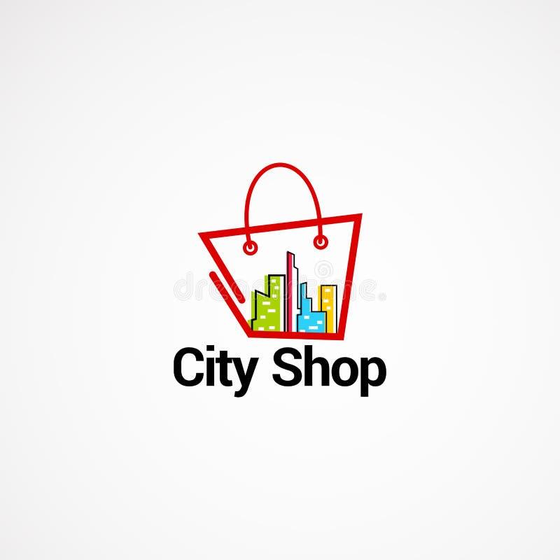 Staden shoppar begrepp för logovektordesigner, symbolen, beståndsdelen och mallen för företag royaltyfri illustrationer
