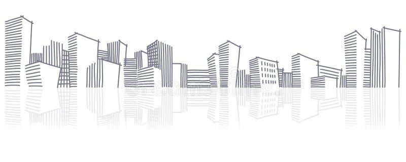 staden skissar horisont stock illustrationer
