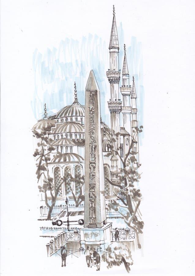 Staden skissar istanbul stock illustrationer