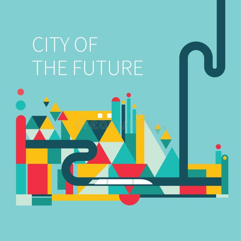 staden som framtida hus lokaliserade våra bytande ut framställningsspheres, spikes dem royaltyfri illustrationer