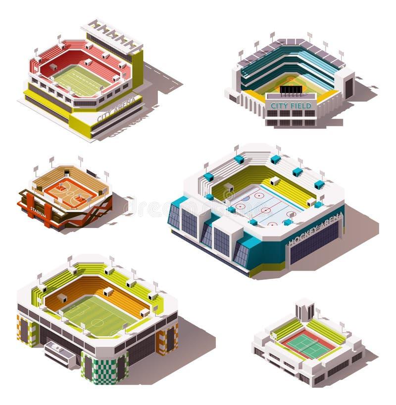Stades isométriques de vecteur réglés illustration libre de droits