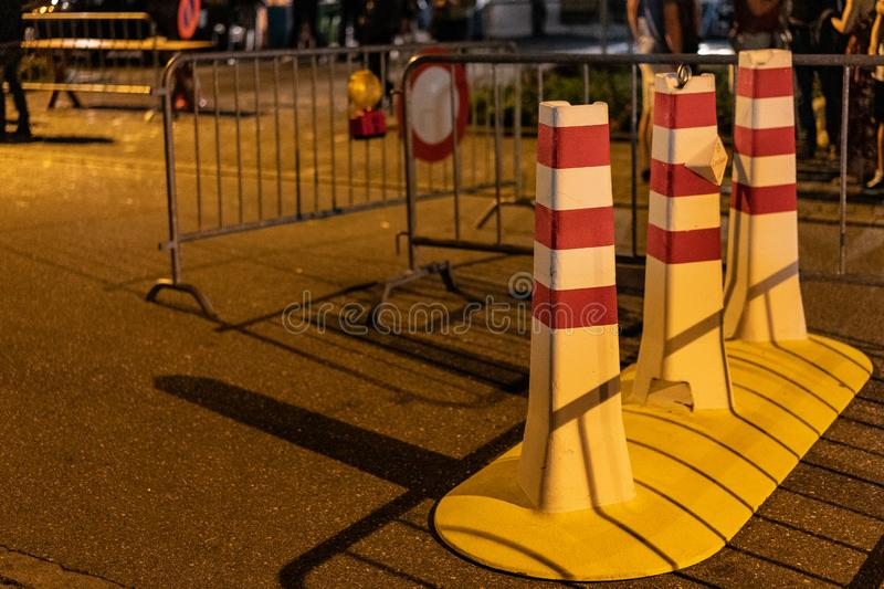 Stadtfest Brugg 24th of august 2019. street photography. Bollard and boundary with selective focus royalty free stock photo