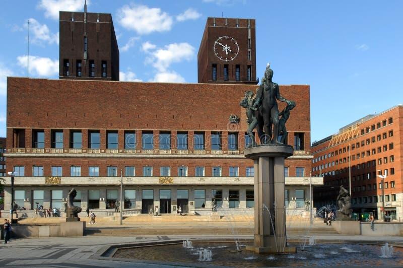 Stadhuis in centraal Oslo Noorwegen royalty-vrije stock foto's