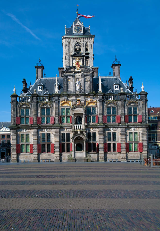 Stadhuis in Delft. Stadhuis (City Hall) (1618) on Markt square, Delft, Netherlands royalty free stock photo