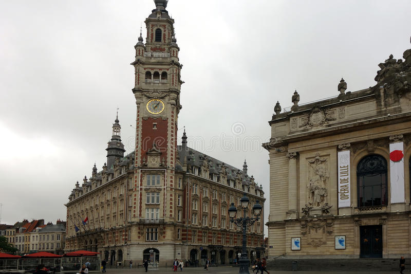 Stadhuis en Opera, Lille, Nord Pas-de-Calais, Frankrijk stock fotografie