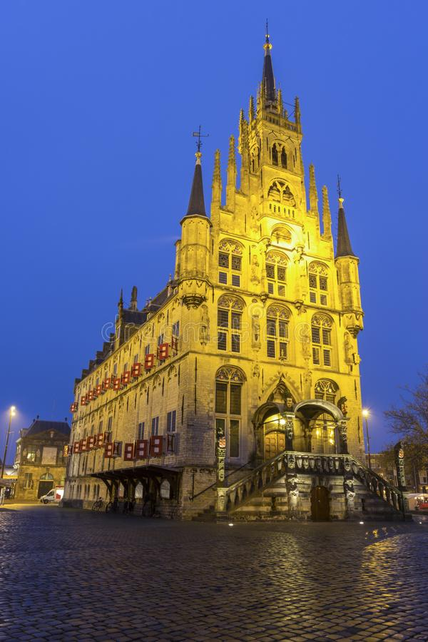 Stadhuis in Gouda stock foto's