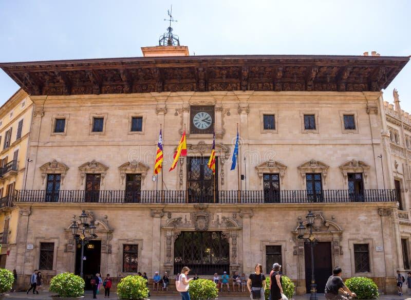 Stadhuis in historisch de stadscentrum van Palma de Mallorca royalty-vrije stock fotografie