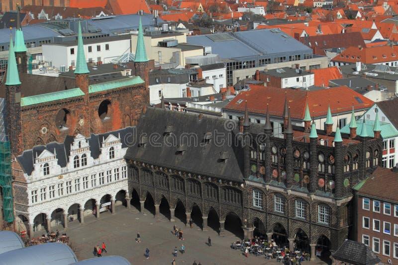Stadhuis in Lübeck stock afbeelding