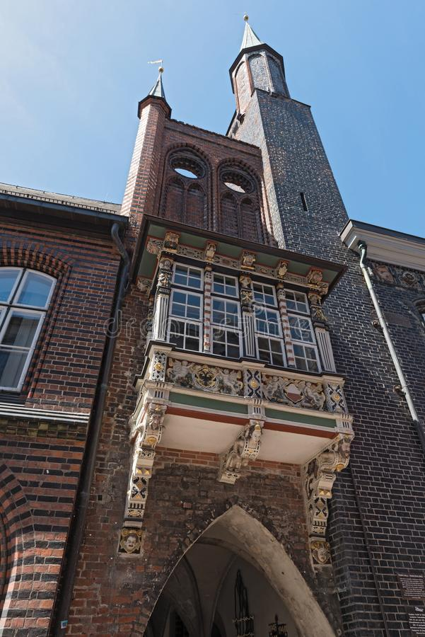 Stadhuis in Markttwiete in Lübeck, Duitsland stock fotografie
