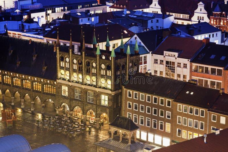 Stadhuis op Steenkoolmarkt in Lübeck royalty-vrije stock fotografie