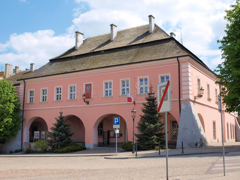 Stadhuis, Opatow, Polen royalty-vrije stock afbeeldingen