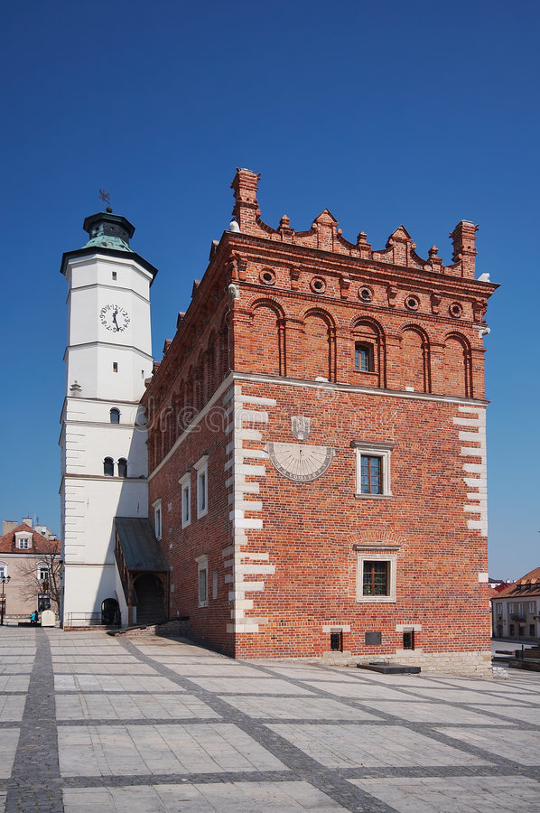 Stadhuis in Sandomierz, Polen royalty-vrije stock foto