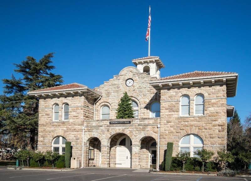 Stadhuis, Sonoma, Californië stock afbeeldingen