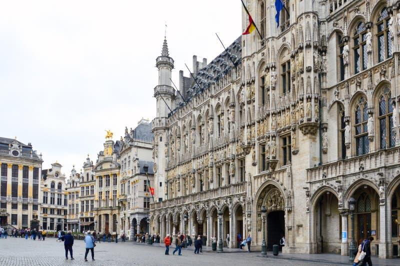 Stadhuis van de Stad van Brussel, de bouw van gotische architecturale stijl in Grand Place in Brussel, België stock afbeelding
