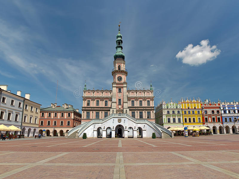 Stadhuis in Zamosc stock foto