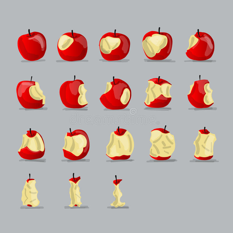 Stadia van het eten van appel, schets voor uw ontwerp royalty-vrije illustratie