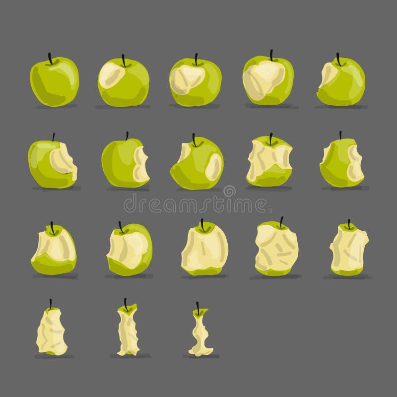 Stadia van het eten van appel, schets voor uw ontwerp vector illustratie