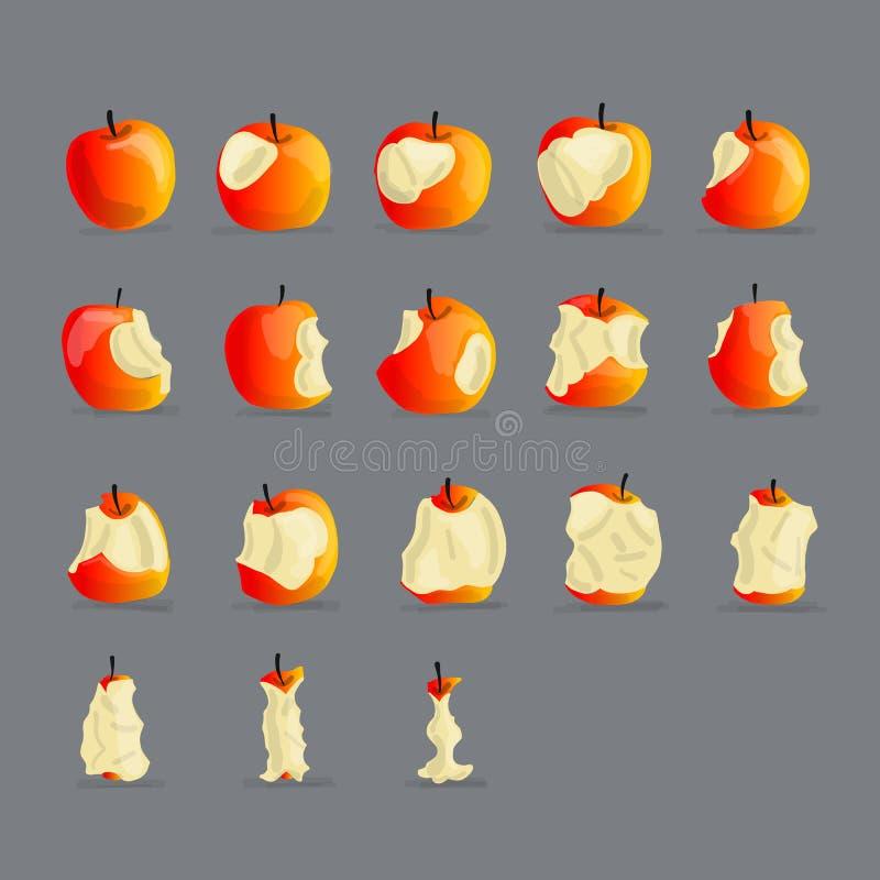 Stadia van het eten van appel, schets voor uw ontwerp stock illustratie