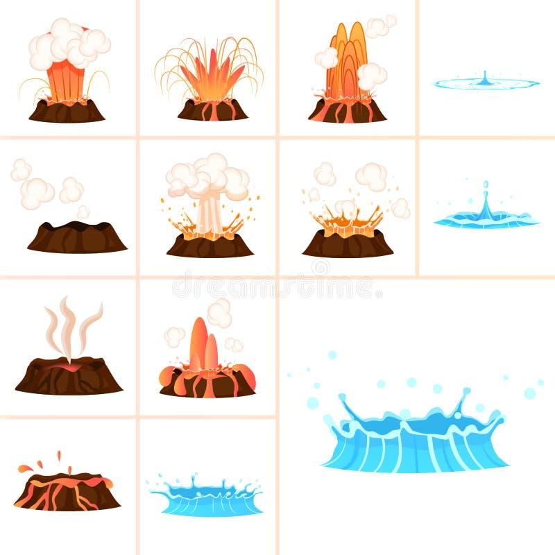 Stadien des Spritzen-Satzes der vulkanischen Eruption und des Wassers stock abbildung