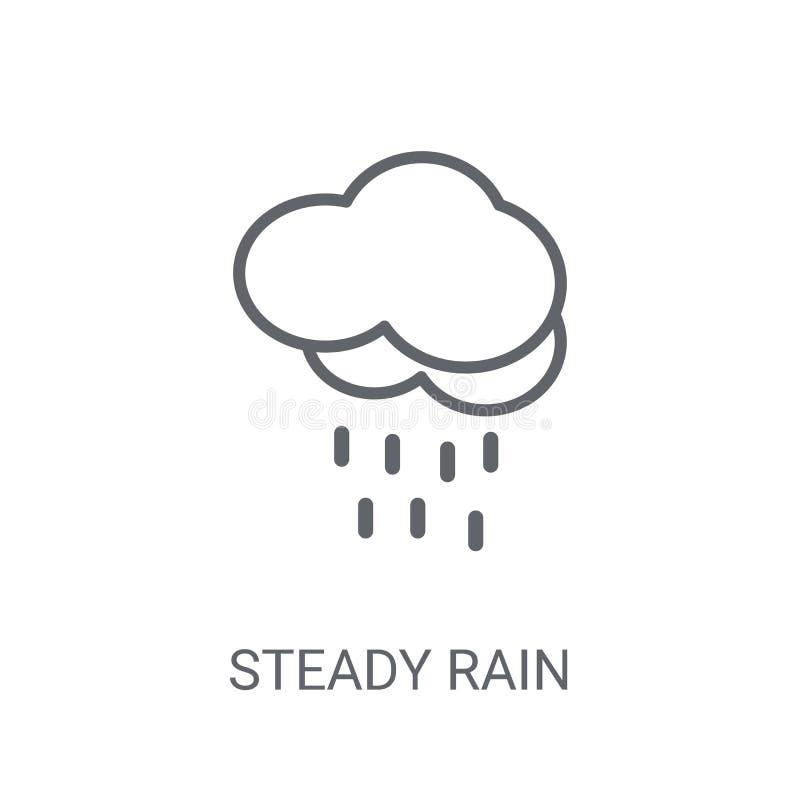stadig regnsymbol Moderiktigt stadigt regnlogobegrepp på vit backg royaltyfri illustrationer