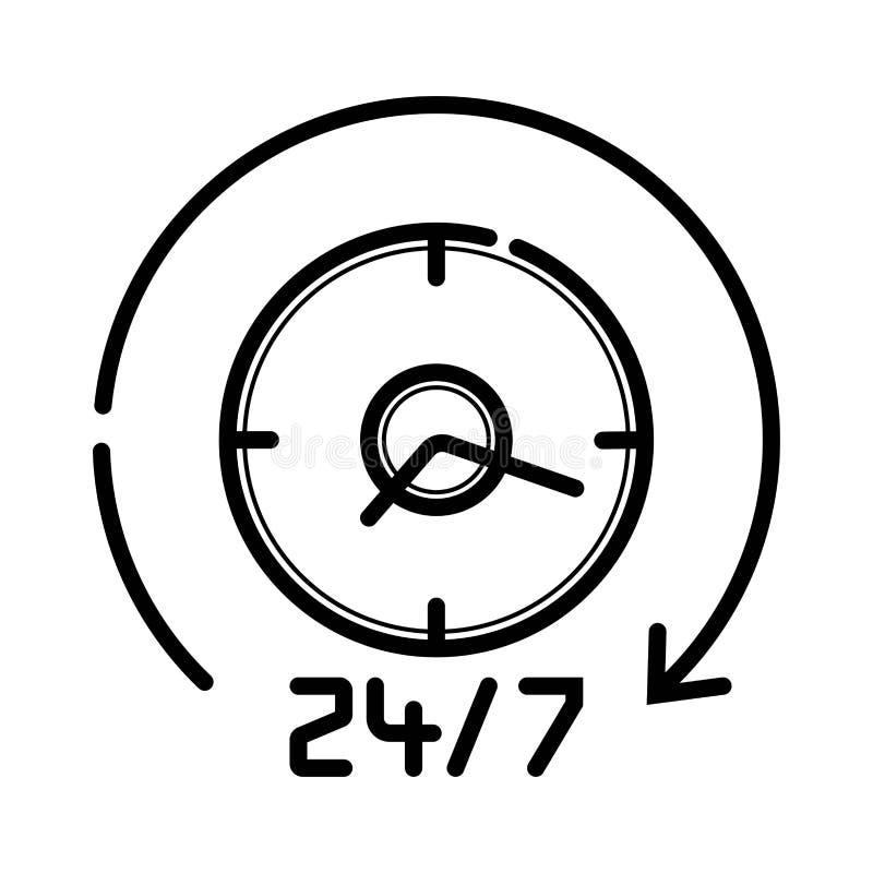 Stadig service 24/7 tunna linje vektorsymbol vektor illustrationer