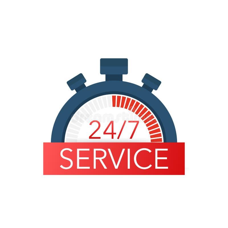Stadig tillgänglig servicesymbol 24 illustration 7 Vektor för rengöringsduk för hel vecka för arbete royaltyfri illustrationer
