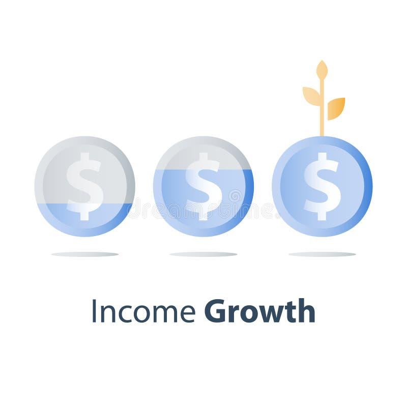 Stadig tillväxt för finansiellt värde, strategi för långsiktig investering, tillgångtilldelning, intäktförhöjning, aktieandelsfon vektor illustrationer