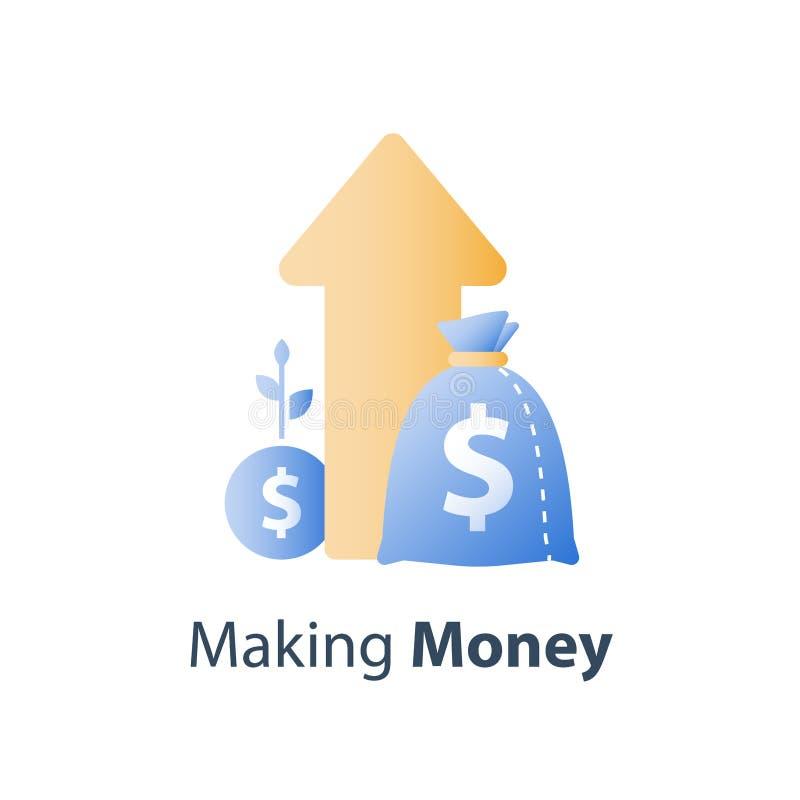 Stadig tillväxt för finansiellt värde, strategi för långsiktig investering, tillgångtilldelning, intäktförhöjning, aktieandelsfon stock illustrationer