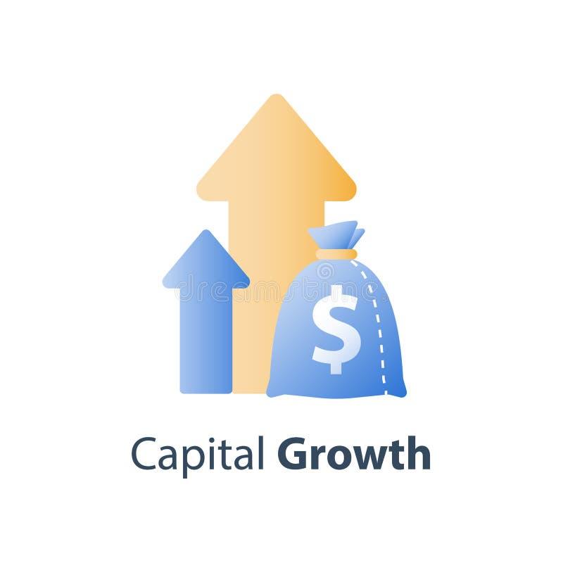 Stadig tillv?xt f?r finansiellt v?rde, strategi f?r l?ngsiktig investering, tillg?ngtilldelning, int?ktf?rh?jning, aktieandelsfon stock illustrationer
