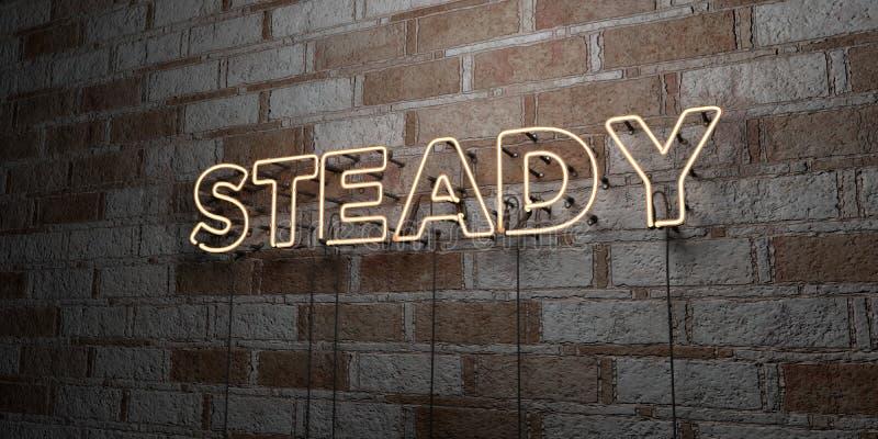 STADIGT - Glödande neontecken på stenhuggeriarbeteväggen - 3D framförde den fria materielillustrationen för royalty stock illustrationer