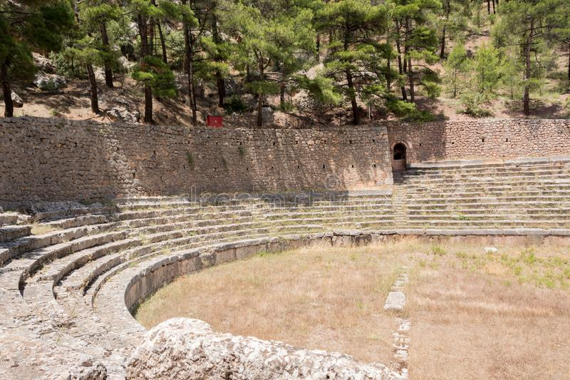 Stadio antico a Delfi, Grecia immagini stock libere da diritti