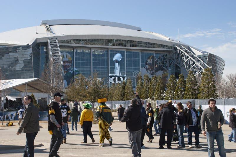 Stadio dei cowboy, Superbowl XLV, ventilatori al Super Bowl fotografie stock libere da diritti