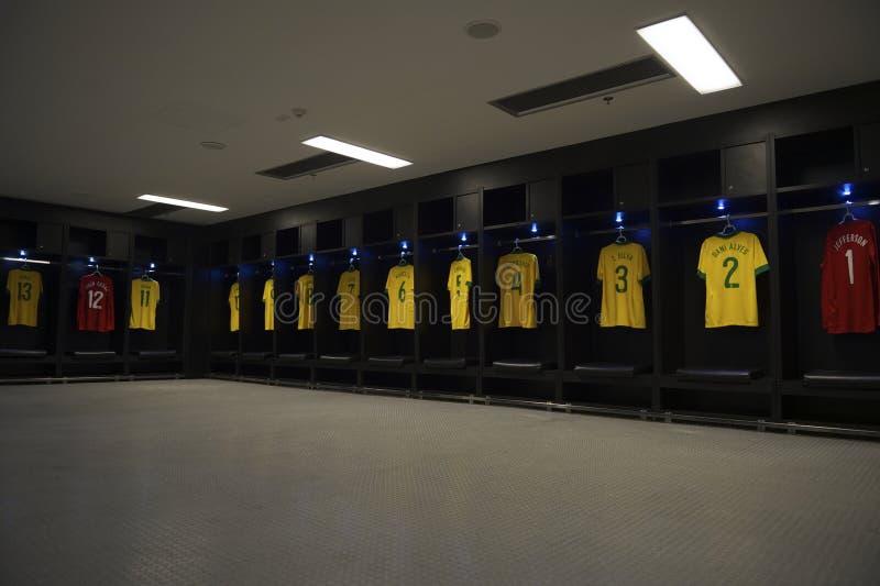 Stadio del Brasile Team Shirts Locker Room Maracana fotografia stock