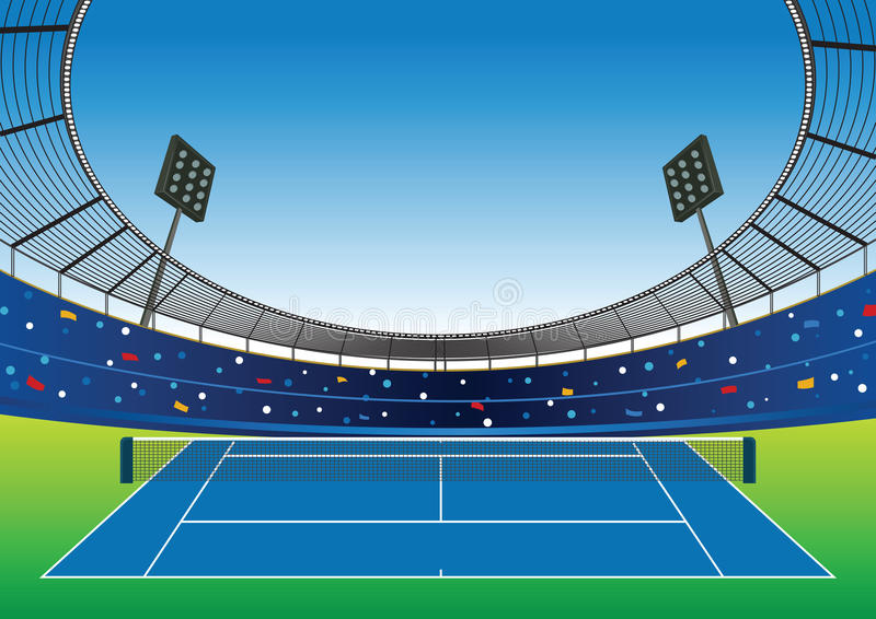 Stadio del campo da tennis illustrazione vettoriale