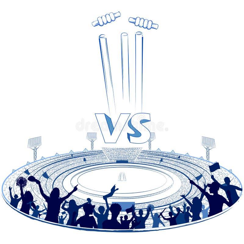 Stadio del cricket con il passo per la partita di champoinship illustrazione vettoriale