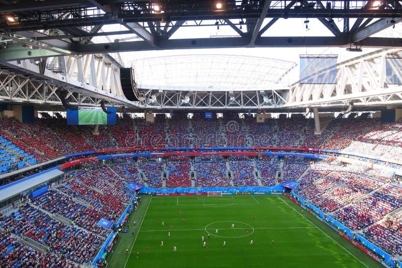 Stadio della tribuna a St Petersburg durante il calcio della coppa del Mondo fotografia stock
