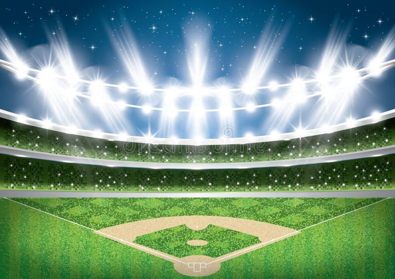 Stadio di baseball con le luci al neon arena illustrazione vettoriale