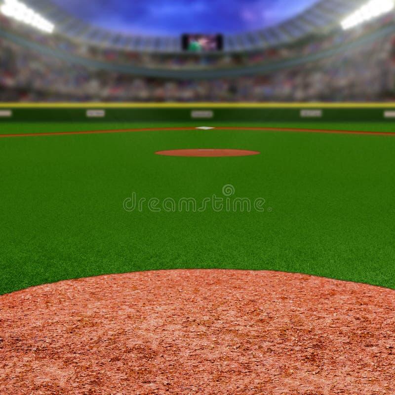 Stadio di baseball con lo spazio della copia fotografia stock libera da diritti