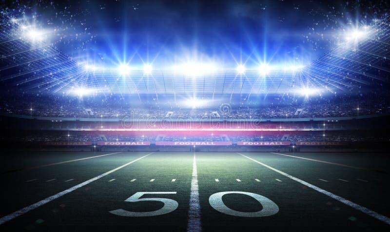 Stadio di calcio americano, rappresentazione 3d immagine stock