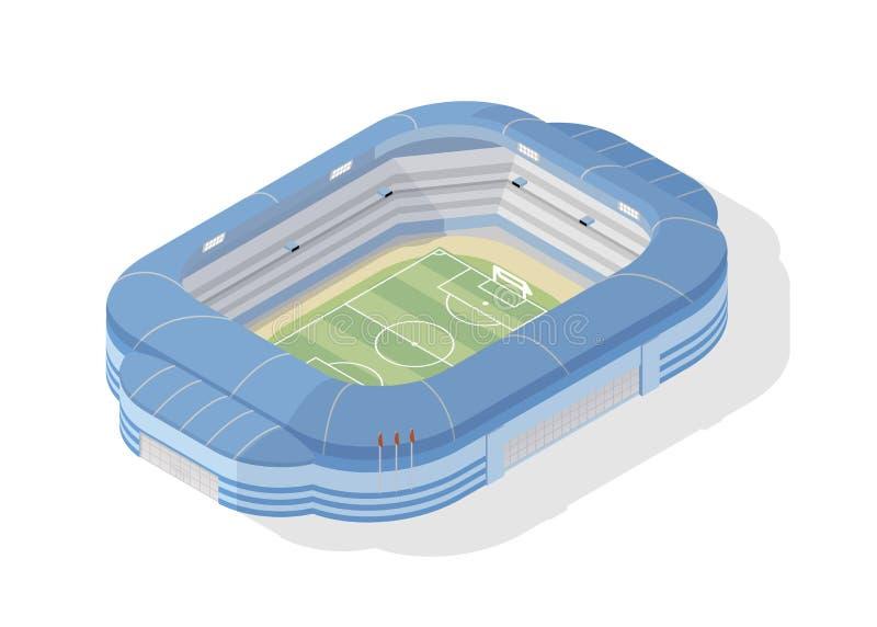 Stadio di calcio isometrico Arena moderna di calcio isolata su fondo bianco Sede, costruzione o struttura di sport per illustrazione di stock