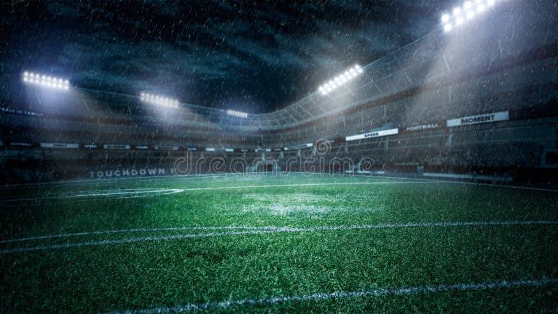 Stadio di calcio vuoto nei raggi luminosi all'illustrazione di notte 3d fotografia stock