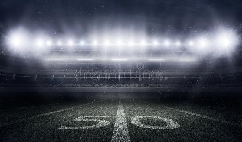 Stadio di football americano alle luci ed ai flash illustrazione di stock