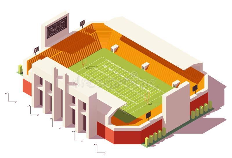 Stadio di football americano basso isometrico di vettore poli royalty illustrazione gratis