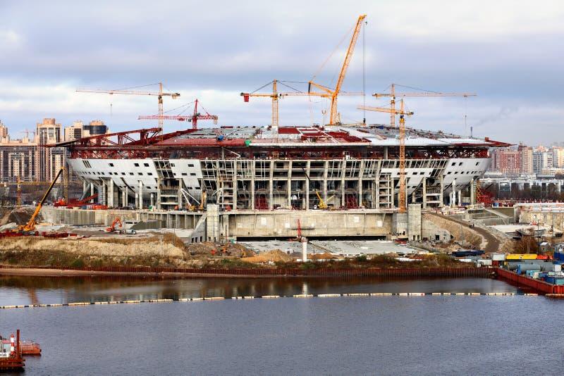 Stadio di football americano che è costruito fotografia stock
