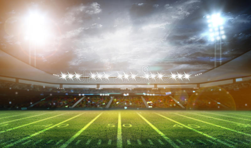 Stadio di football americano 3D illustrazione vettoriale