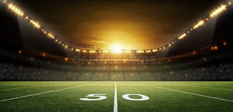 Stadio di football americano, rappresentazione 3d fotografie stock libere da diritti