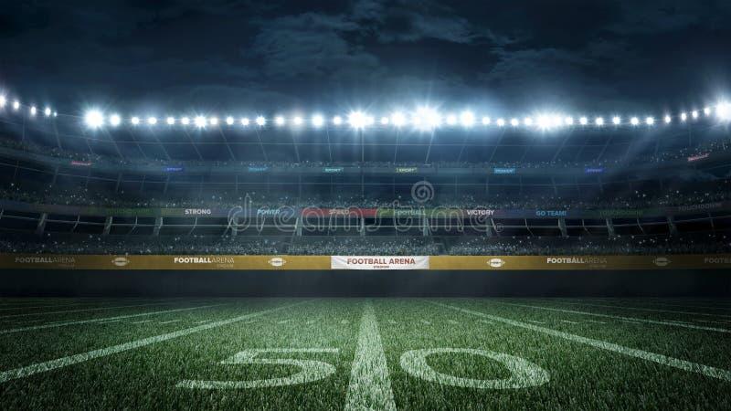Stadio di football americano vuoto nei raggi luminosi alla rappresentazione di notte 3d immagini stock libere da diritti