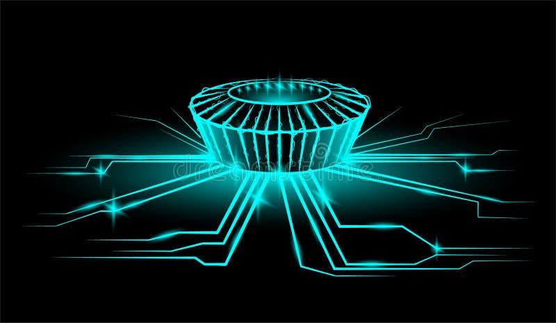 Stadio di notte con la palla Raggi di energia Stile al neon royalty illustrazione gratis